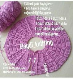 Lilac Illustrated Knit Baby Vest Model with Very Stylish Robe - ali kuzey Baby Knitting Patterns, Knitting For Kids, Baby Patterns, Free Knitting, Baby Cardigan, Baby Girl Vest, Baby Baby, Diy Crafts Knitting, Knit Basket