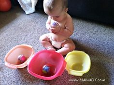 3 ways for your baby to have fun with stuff you already have in your home! From www.MamaOT.com.