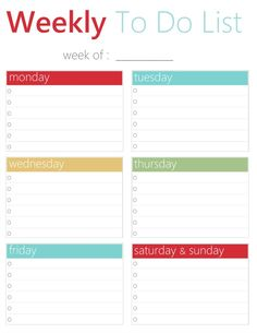 FREE Printable To Do Lists - Free Printable Weekly To Do List Download