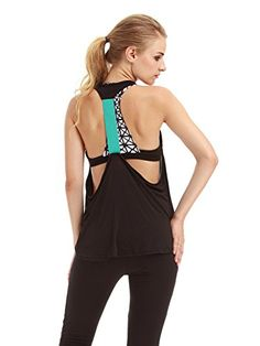 TeeDoc Women Loose Activewear Gym Sport Flowy Open Back Yoga Tank Top Shirt ** See this great product.