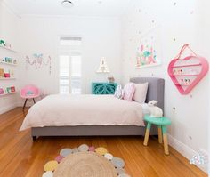 modern candy-colored preteen kids room | white room | wall decals