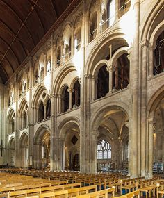 The 12th century Nave of Romsey Abbey in Hampshire