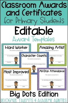 These end of the year awards are perfect to recognize your students for their unique talents and abilities! These awards are EDITABLE and feature a Big Polka Dot background. Perfect for Primary Students and Elementary Students in Kindergarten, First Grade