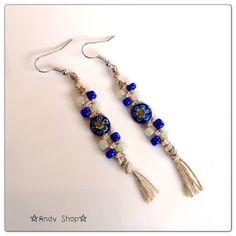 Hemp earrings+bali glass beads