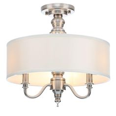 This one is so pretty, there are lots of customer pictures if you scroll down so you can see what it looks like, check out the pictures from all angles to make sure you like the look of it- Hampton Bay Gala 3-Light Polished Nickel Semi-Flushmount Light