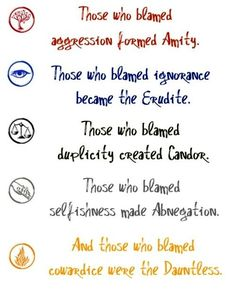 The five factions and what they represent. Loved Divergent- can't wait to finish the series!