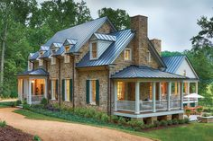 Gorgeous cottage house exterior design exterior style дом мечты, ф Southern Living Homes, Design Living Room, Side Porch, Front Porch, Stone Houses, Stone Cottages, Cottage Homes, Architecture, Exterior Design