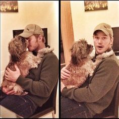 photo: Chris Pratt acting all cute with a little puppy dog Chris Pratt, Chris Evans, Little Puppies, Dogs And Puppies, Andy Dwyer, Jurassic World Fallen Kingdom, Peter Quill, Marvel, Avengers Memes