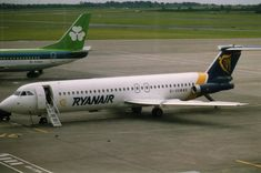From Wikiwand: A Ryanair One-Eleven, Note the inbuilt boarding steps deployed. Atr 42, Ireland Travel, Military Aircraft, Aviation, Vehicles, British, Aeroplanes, Jets, Travelling