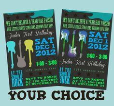 Guitar Rock Star Birthday Invitation  Blue Grey by GoodHueDesigns, $10.00
