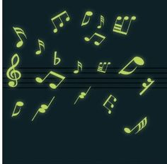Glow in the Dark Musical Note Wall Stickers: Amazon.co.uk: Kitchen & Home