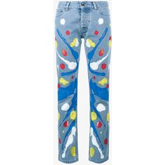Mirco Gaspari  Blue 501 Paint Splattered Jeans ($270) ❤ liked on Polyvore featuring jeans, blue, blue colour jeans, blue jeans and paint splatter jeans