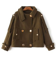 Shop Army Green Double Breasted Epaulet Coat With Button online. SheIn offers Army Green Double Breasted Epaulet Coat With Button & more to fit your fashionable needs. Winter Jackets Women, Coats For Women, Clothes For Women, Green Coat, Outerwear Women, Kappa, Wool Blend, Army Green, Outfits