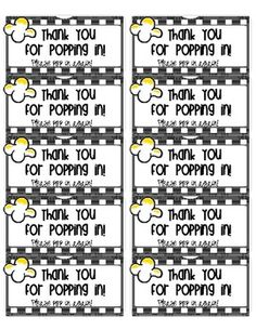 Free Thank You for Popping In popcorn labels (open house) Can print on Avery 2 x 4 label pages 4th Grade Classroom, Classroom Themes, Classroom Organization, Preschool Classroom, Classroom Management, Beginning Of The School Year, New School Year, School Days, School Stuff