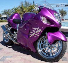 Purple , Its a Suzuki Hayabusa! Indian Motorcycles, Triumph Motorcycles, Custom Motorcycles, Custom Baggers, Purple Love, All Things Purple, Shades Of Purple, Purple Stuff, Purple Cars
