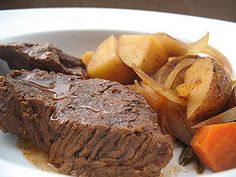 Crock Pot Pot Roast. Oh, this was so delicious!!!! The whole family savored this fancy but easy meal! I served it with a crisp ceasar salad.