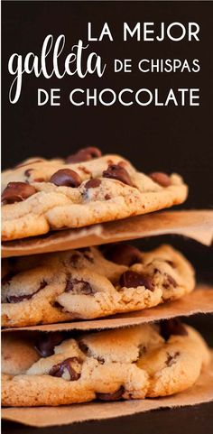 Recipe and all the tips for you to prepare the best Chocolate Chip Cookie in the world: with a sligh Sweets Cake, Cookie Desserts, Cookie Recipes, Cookies Receta, Fun Cookies, Galletas Cookies, Easy Chocolate Chip Cookies, Cookie Time, Oreo Cake