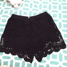Brandy Melville black lace shorts they're super soft and I usually wore them high waisted. it's more of a crochet than a lace but they have really beautiful designs on them. Brandy Melville Shorts