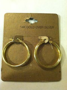 "$7.00 14k Gold Plate Over Silver 1 25"" Fashion Hoop Earrings Stunning 