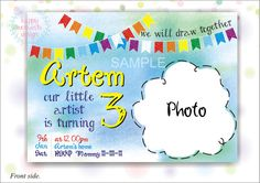 Printable Invitation for Birthday party by HappyMomentsDesign
