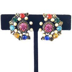 Signed CORO 1950s Vintage Screw Back Earrings Coloful Rhinestone Pearl Leaf I94