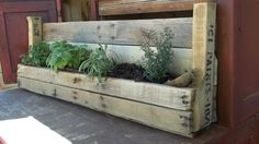 "Planter.  Upcycled pallet wood! Every planter is designed to be one of a kind to add authenticity to your garden or patio.    Measures: 36 ½"" x 5 ½"" x 13 ¼"""