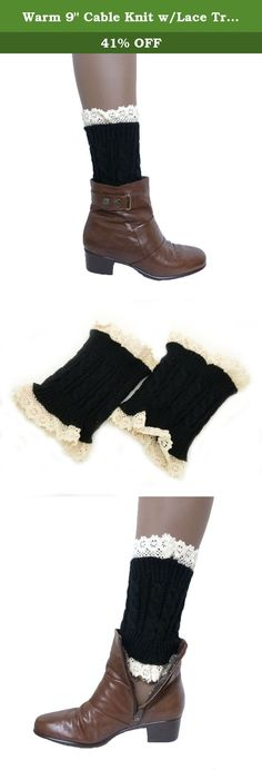 "Warm 9"" Cable Knit w/Lace Trim Wide Top Leg Warmers Boot Topper (Black). Fashion21 Outdoor Fashion Warm 9"" Cable Knit w/Lace Trim Button Leg Warmers Boot Topper."