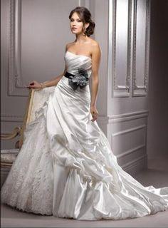 Black and White Bustled Bridal Gown Balloon Hem Wedding Dress