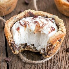 These chewy Chocolate Chip Cookie Cups are truly one of the easiest desserts you'll ever make. Filled with Vanilla Cream Cheese Mousse and a swirl of chocolate sauce.