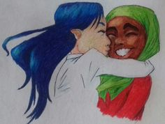 The next three drawings are going to be about Amena and Helia's relationship throughout their years spent together through some smooches :) Here they are as kids.