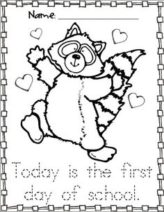 kissing hand activities free chester the raccoon coloring page first day of school with - First Day Of School Coloring Sheets For Kindergarten