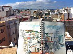 Dibujando las azoteas de la Isleta - 45 SketchCrawl - Las Palmas de Gran Canaria