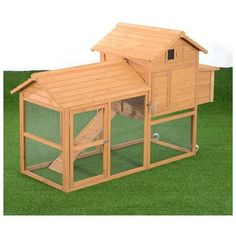 Pawhut Deluxe Portable Backyard Chicken Coop w/ Fenced Run and Wheels 0