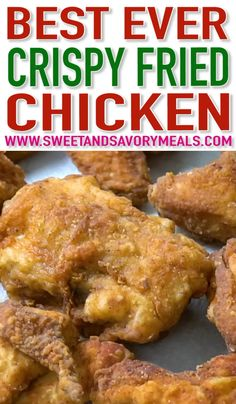 This Fried Chicken Recipe is soaked in buttermilk and is super crunchy on the outside and tender on the inside friedchicken chickenfoodrecipes chicken sweetandsavorymeals recipevideo Crock Pot Recipes, Turkey Recipes, Dinner Recipes, Cooking Recipes, Meal Recipes, Cooking Tips, Recipies, Healthy Recipes, Chicken Recipes Video