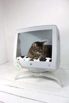 Upcycled Apple Computer Pet Bed by AtomicAttic - I NEED this for my cat Patches. On the desk all the time I'm on the computer. :)