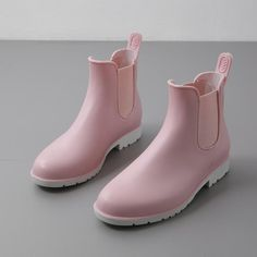 Women's Rain Boots Rubber Ankle Boots Female Waterproof and non-slip lady casual Rain-boots Water shoes Pink Chelsea bots. Women's Casual Shoes White Pink Rubber Waterproof Ankle Boots.