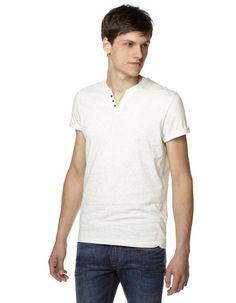 ffe9ecb9e469 T-shirt col V boutonné - SEBET GRISCHINE01 - Vue de face - Celio France  Celio