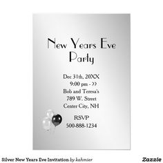 Silver New Years Eve Invitation Card