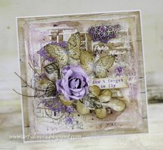 Dorota_mk, Card with flower and butterflies