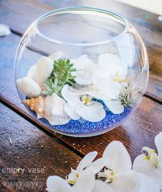 Ocean Oasis  As cool and relaxing as a tropical beach paradise, this arrangement is perfect for summer time. Elegant white phalaenopsis orchids rest among lush succulents, air plants, and an assortment of beautiful sea shells.