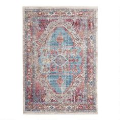 Blue and Ivory Persian Style Shilah Area Rug | World Market