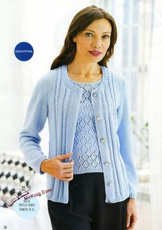 Очаровательная двойка спицами Cable Cardigan, Sweater Jacket, Pullover Sweaters, Knit Fashion, Sweater Fashion, Knitting Stitches, Knitting Patterns Free, Free Pattern, Cardigans For Women