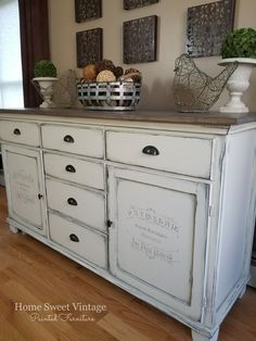 French Farmhouse Buffet finished in General Finishes bone white chalk paint. This is how I am going to do my cabinets but I am going to use the off whites