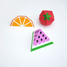 Watermelon bunting (+ template) // 3D fruit!   Mini-eco