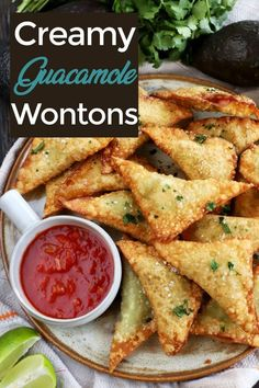 Guacamole Wontons are the handheld version of my favorite food, that's also been fried. The golden brown, crunchy exterior wraps the guacamole in a warm hug. Be sure to make them for the big game! Asian Recipes, Gourmet Recipes, Healthy Recipes, Ethnic Recipes, Bariatric Recipes, Finger Food Appetizers, Appetizer Recipes, Wonton Recipes, Clean Eating Snacks