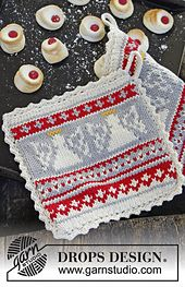 Ravelry: 0-994 Holy Cookie - Pot holder in Paris with angels pattern by DROPS design