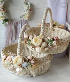 Polymer Clay Crafts, Wicker Baskets, Easter, Ideas, Home Decor, Flower Arrangements, Home, Manualidades, Decoration Home