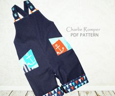 Baby sewing pattern PDF for romper overalls sunsuit, Sewing pattern for boys toddler, Instant Download, Charlie