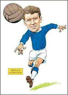 Brian Labone of Everton in cartoon mode. Funny Caricatures, Everton, Funny Art, 1960s, Soccer, Football, Cartoon, Baseball Cards, Hs Sports