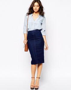 Enlarge Warehouse Denim Pencil Skirt
